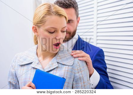 Boss Or Manager Molesting Female Employee In Workplace. Victim Of Sexual Assault And Harassment At W