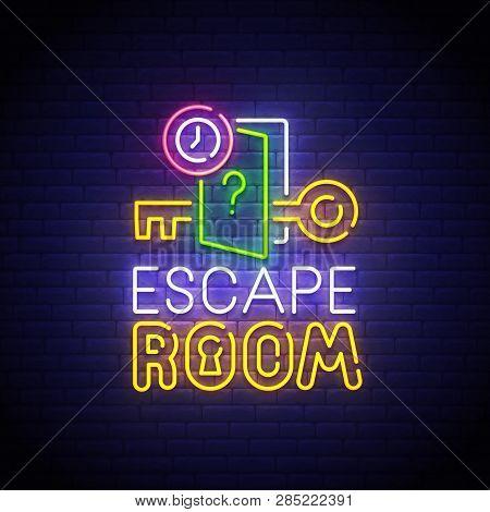 Escape Room Neon Sign, Bright Signboard, Light Banner. Quest Room  Logo Neon, Emblem. Vector Illustr