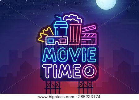 Night City. Sign Neon. Cinema Billboard. Bright Signboard, Light Banner. Cinema Logo. Vector Illustr