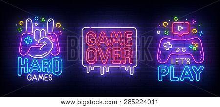 Big Set Neon Sing. Game Room Label And Logo. Gamer Banner, Emblem And Label. Bright Signboard, Light