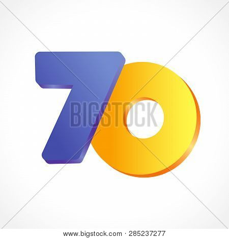 70 Years Anniversary Logo. 70 Th Years Old Congrats. Isolated Abstract Colored Graphic Design Templa