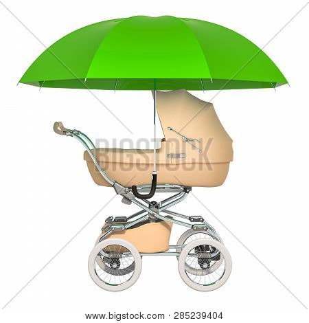 Security And Protect For Baby. Baby Pushchair Under Umbrella, 3d Rendering Isolated On White Backgro