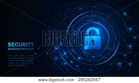 Cryptocurrency And New Virtual Money Concept. Blockchain Technology Cryptocurrency. Blue Abstract Ba