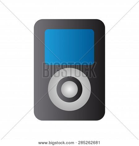 Black Mp3 Player, Blue Display. Music. Mp3. White Background. Vector Illustration. Eps 10.