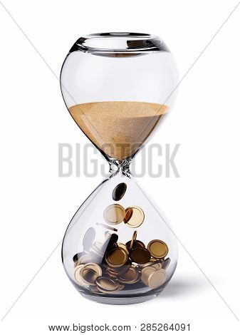 Time Is Money Financial Concept. Hourglass Clock With Sand And Gold Coins. 3d Rendering Illustration