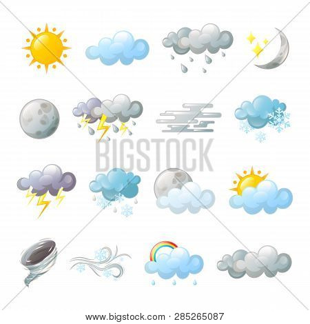Icons For Weather Forecast At Web Or Widget. Rainy Cloud And Tornado, Rainbow And Snowflakes, Fog Or