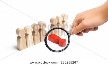 Magnifying glass is looking at the red figure of a man falls out of the line of people. The concept of stress and burnout at work. Moral and physical exhaustion, weak link. dismissal of an employee poster