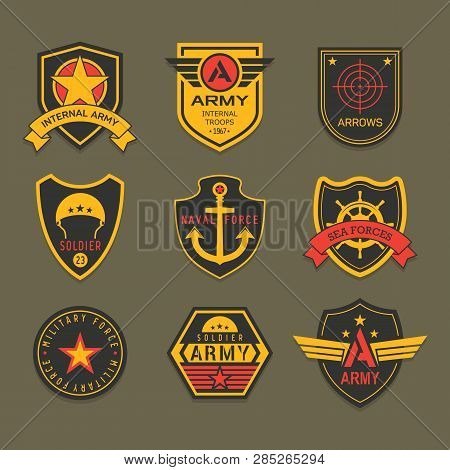 Set Of Isolated Military Badge Or Army Insignia, American Ranger Patch, Squad Crest For Airborne. Ic