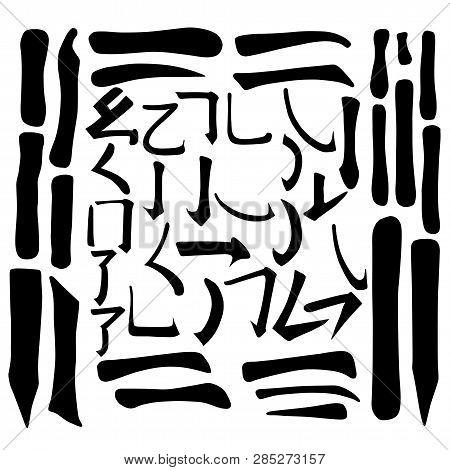 Main Chinese Hieroglyphs Vector Set (horizontal, Vertical, Dot, Singing Cricket, Curled Dragon, Frol