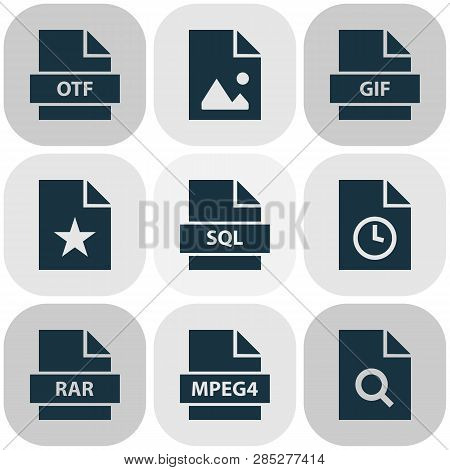 Document Icons Set With Rar, Software, Favorite And Other Gif Elements. Isolated Vector Illustration