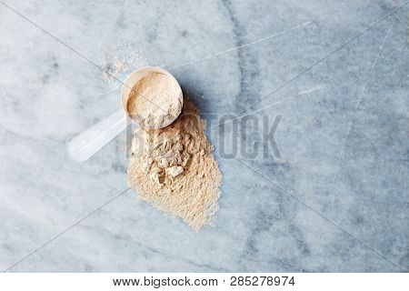 Whey protein powder in a scoop on gray stone background, Flat lay. Copy space