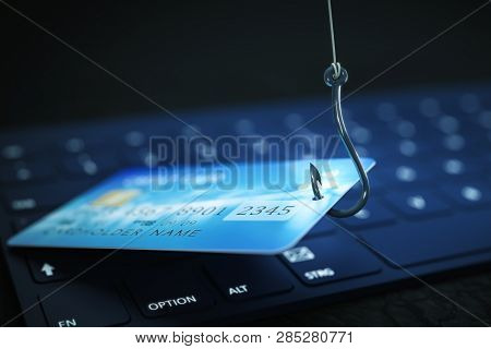 phishing credit card data with keyboard and hook symbol 3d illustration