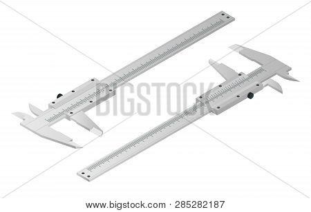 Isometric Calipers Isolated On White. Vernier Caliper, Metal Equipment Engineering Work Measurement