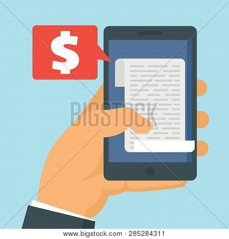 Smartphone In Hand With Receipt Bill. Shopping Cash Bill, Buying Tax Transaction Flat Vector Illustr