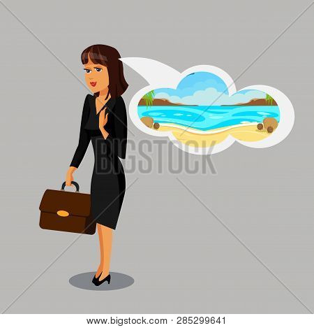 Businesswoman Dreaming about Vacation Clipart. Confident, Wealthy, Elegant Cartoon Character. Successful Woman in Suit with Briefcase Flat Vector Illustration. Busy Employee, Employer, Office Worker poster