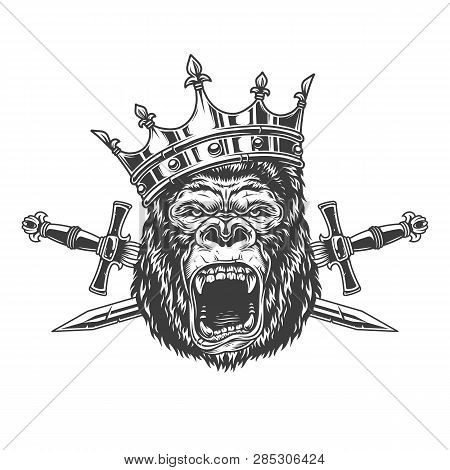 Ferocious Gorilla King Head In Crown With Crossed Daggers In Vintage Monochrome Style Isolated Vecto