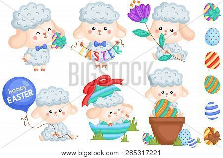 A Vector Set Of Various Cute Male Sheep And Eggs Celebrating Easter Day