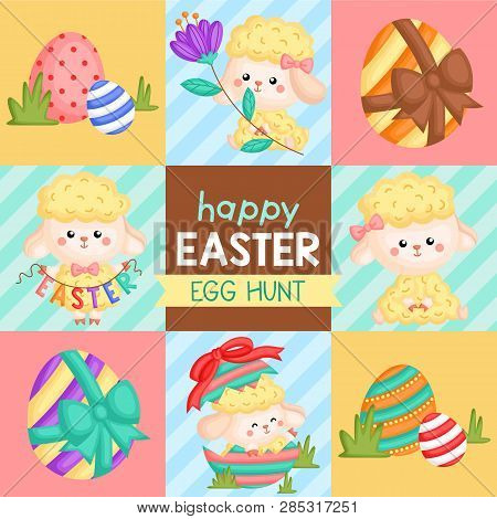 A Vector Of Cute Sheep Celebrating Easter And Egg Hunting For Easter Card
