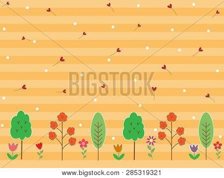 Colorful Flower And Tree On Gradient Stripe Pastel Orange Or Yellow Background. Spring Season Wallpa