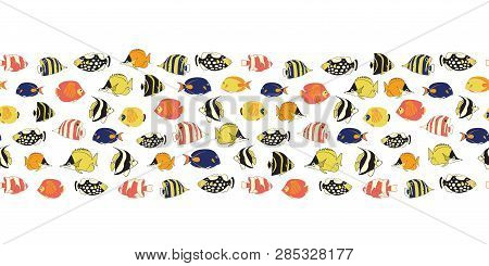Border Tropical Reef Fish Seamless Vector Tile. Colorful Fishes Decor. Butterflyfish, Clown Triggerf