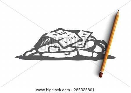 Homeless, sleep, outdoor, poor, miserable concept. Hand drawn homeless man sleeping outdoor concept sketch. Isolated vector illustration. poster
