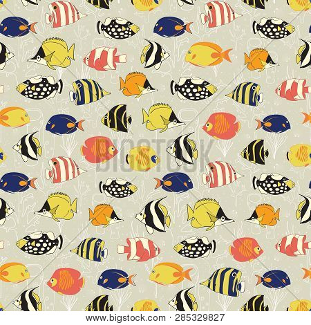 Seamless Vector Fish Pattern. Tropical Colorful Reef Fishes Background. Butterflyfish, Clown Trigger
