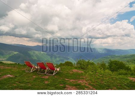 Travel Vacation Mountain Destination. Perfect Mountain Vacation Landscape. Travel Vacations Destinat