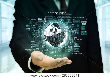 A Businessman Showing A Conceptual Illustration Of Internet Big Data And Data Science Technology