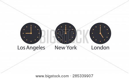 Сoncept Of World Time And Time Zones.navy Wall Clock With Gold Hands And Dial Show Time In Los Angel