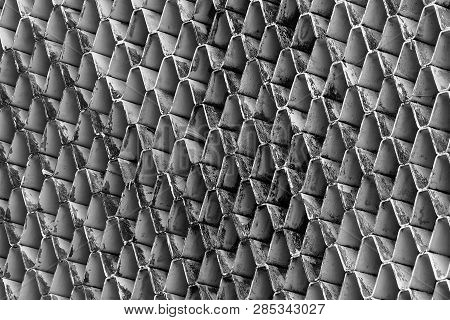 Closeup Ventilated Facade Of Building. White Ventilation With Creative And Beautiful Pattern Archite