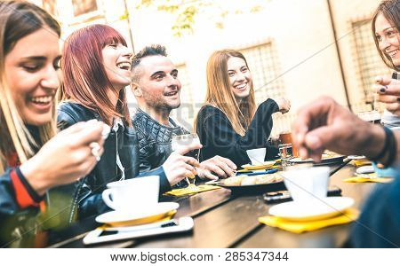 Friends Drinking Cappuccino At Coffee Restaurant - Millenial People Talking And Having Fun Together