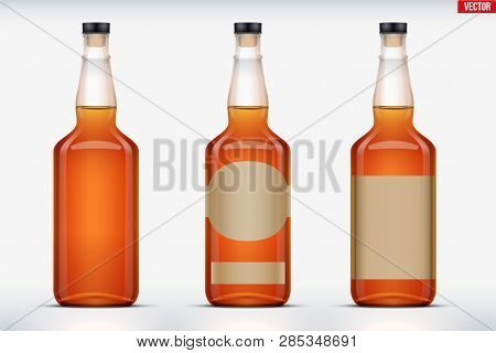 Mockup Set Of Whiskey Bottle. Transparent Glass. Example Bottle For Cognac And Brandy And Whickey Be