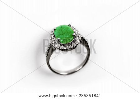Luxury Ring With Green Gem Isolated On White Background