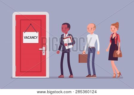 Vacancy Door Sign In Office And Job Applicants. Diverse Group Of People Searching For Work, Potentia