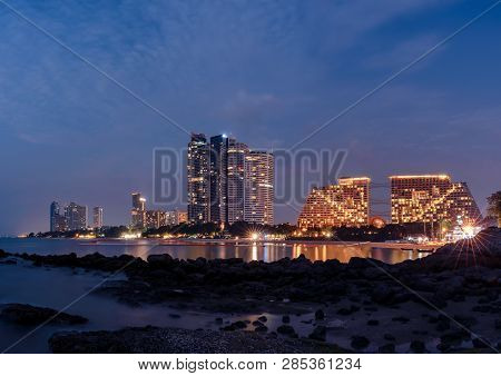 Cityscape Of Night Skyline At Pattaya City And One Of Famous Landmark In Thailand .