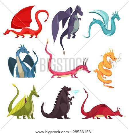 Funny Colorful Fire Breathing Dragons Monsters Weird Snake Like Creatures Flat Cartoon Icons Set Iso
