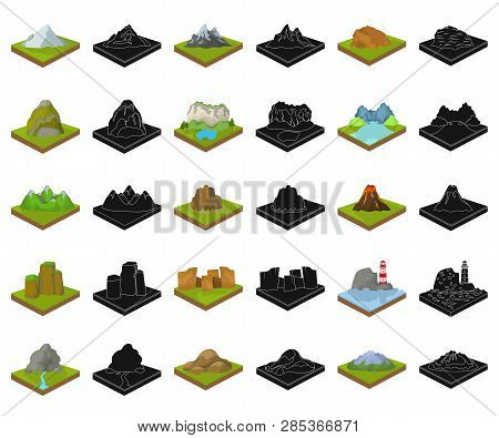 Mountains, Massive Cartoon, Black Icons In Set Collection For Design. The Surface Of The Earth Vecto