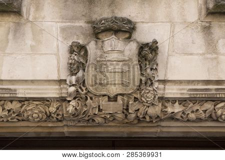 London, England - July 15, 2018. Architectural Detail From Supreme Court Westminster, Parliament Squ