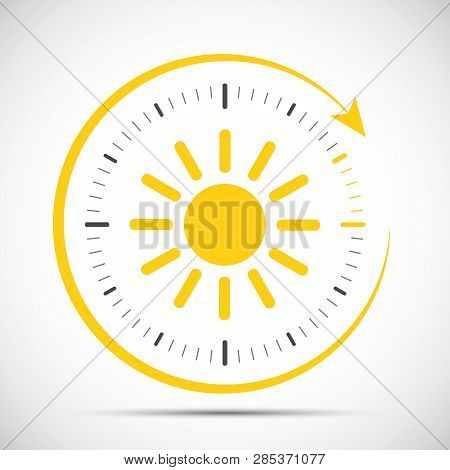 Clock With Sun Summer Time Change Vector Illustration Eps10