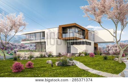 3D Rendering Of Modern House By The River In Spring