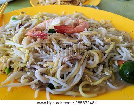 Hokkien Mee Stir Fry Noodles With Calamari Prawns Squid And Pork Closeup