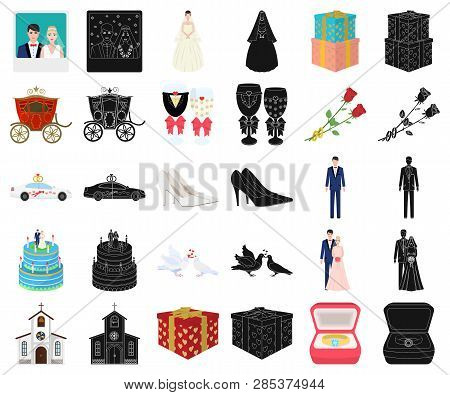 Wedding And Attributes Cartoon, Black Icons In Set Collection For Design. Newlyweds And Accessories