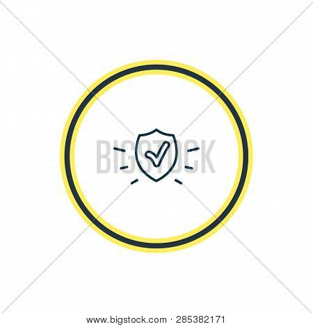 Vector Illustration Of Protection Icon Line. Beautiful Emoji Element Also Can Be Used As Safety Icon