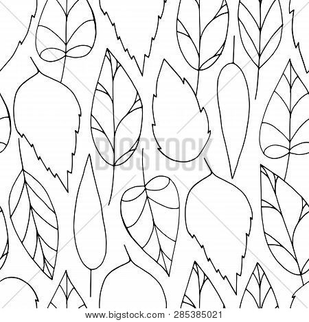 Vector doodle seamless pattern with black colorless leaves on white background. Repeating wallpaper. Hand drawn illustration with abstract leaves. Texture design for surface, fabric and textile. poster