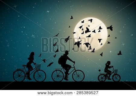 Family On Bikes On Moonlit Night. Active Rest Of Parents With Child. Vector Illustration With Silhou