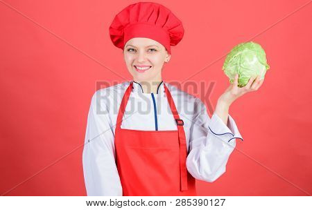 Woman Professional Chef Hold Whole Cabbage Vegetable. Healthy Vegetarian Recipe Ingredient. Healthy