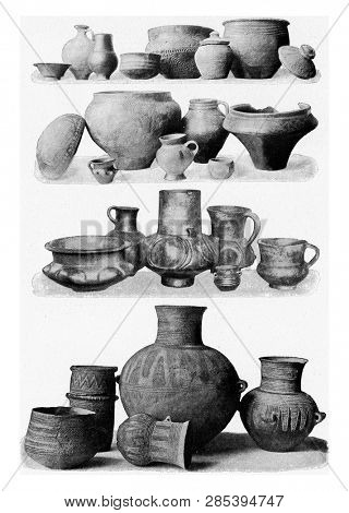Prehistoric clay vases, arranged in chronological order, vintage engraved illustration. From the Universe and Humanity, 1910.