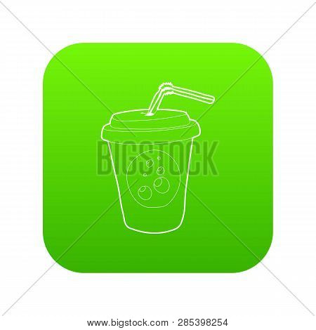 Plastic Cup Of Limonade Icon Green Vector Isolated On White Background