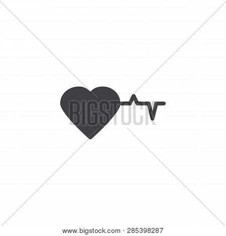 Heart And Heartbeat Vector Icon. Filled Flat Sign For Mobile Concept And Web Design. Heart Beat Card