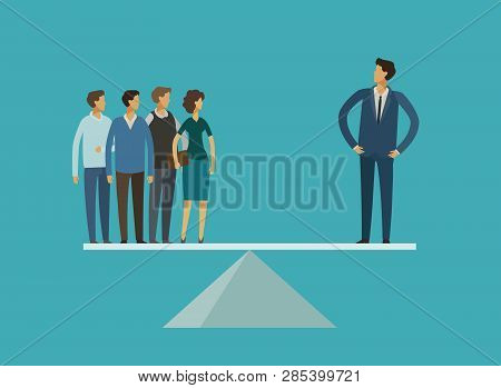 Business concept. Career, leader, superiority, rivalry vector illustration poster